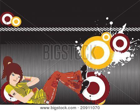 beautiful girl listening music on grunge background, wallpaper