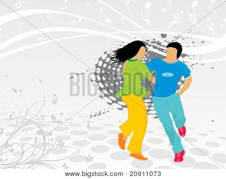 beautiful silhouette of dancing couple on floral background, wallpaper