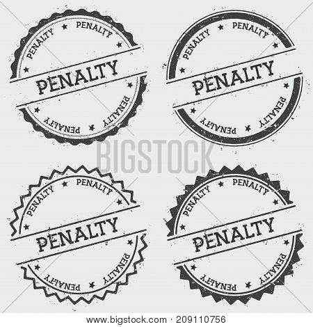 Penalty Insignia Stamp Isolated On White Background. Grunge Round Hipster Seal With Text, Ink Textur