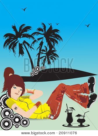beautiful girl listening music on summer background, wallpaper