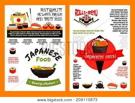 Japanese food menu template for asian cuisine restaurant and sushi bar. Sushi roll wit salmon fish, seafood rice, temaki sushi with tuna, shrimp, noodle soup miso with chopsticks vector poster design