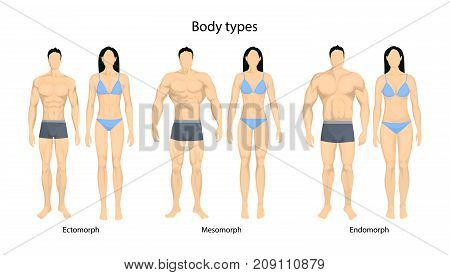 Human body types. Men and women as endomorph, ectomorph and mesomorph.