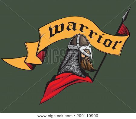 medieval warrior with the flag hand drawn illustration