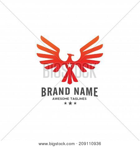 eagle Vector with star logo, eagle bird, hawk logo illustration, phoenix and star logo concept