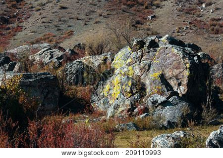 Huge rocks in the landscapes of Altai mountains, Altai Republic, Russia.