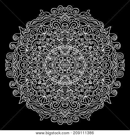 Abstract mandala ornament isolated on black background. Asian pattern