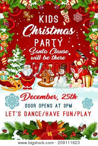 Kids Christmas party invitation poster template for New Year winter holiday December party celebration. Vector design of Santa gifts bag, Christmas tree and golden decoration with snowflakes