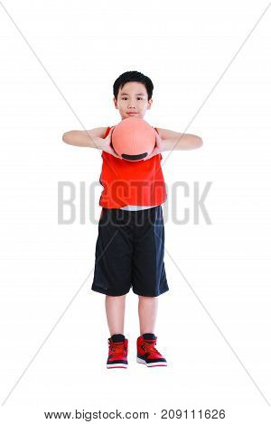 Full body of young asian basketball player in sportswear standing and posing with ball. Boy smiling and looking at camera. Studio shot. Isolated on white background.