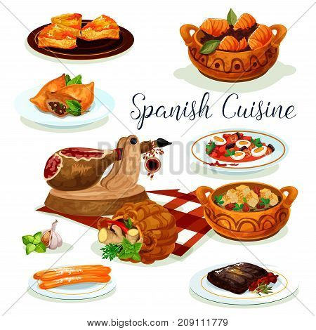 Spanish cuisine menu poster. Iberian ham, fish potato stew, sausage stew with vegetable and bean, salmon and lamb meat pie, beef steak with pepper tomato sauce, bread almond soup, fried cookie churros