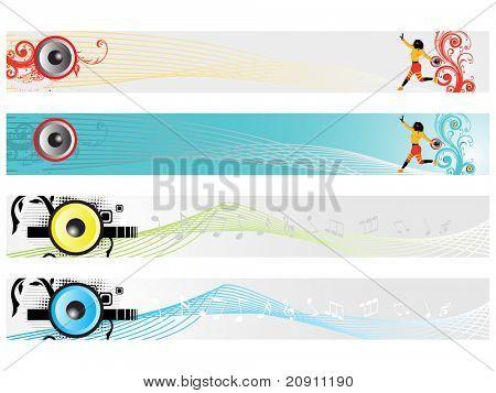 web 2.0 style musical series website banner set 7, illustration