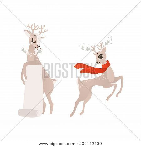 vector flat cartoon cute female christmas reindeer holding blank paper scroll and deer in red scarf set. Winter holiday animal simbol full lenght. Isolated illustration on a white background.