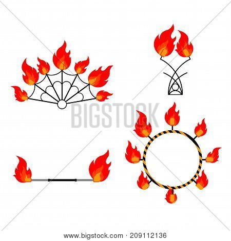 Flat design elements of fire show. Set with accessories and equipment. Flame circus Instrument isolated. devices. Fans, stuff and poi.