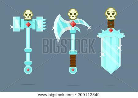 Fantasy Weapons set. Battle-ax poleax Battle Hammer War Hammer and Hero Sword. Vector illustration