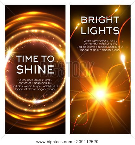 Glowing golden lights banner set. Shining star or sun with bright beam and neon motion trail, glittering circle with sparkling swirls and magic fire ring with lens flare effect poster design