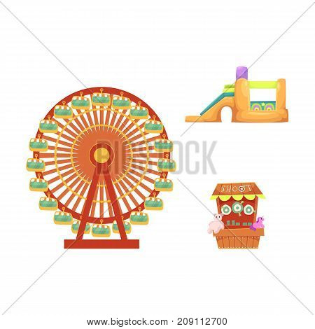 vector flat amusement park objects icon set. Shooting gallery with beara, unicorn toys - awards, inflatable bouncy castle and Ferris wheel. Isolated illustration on a white background.