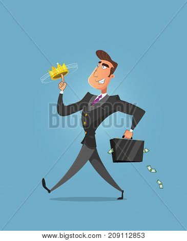 Successful businessman walking and playing with crown on his finger. Rich businessman - vector illustration