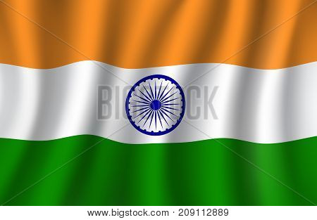 Indian flag 3d illustration, national banner Republic of India with wheel in center. Indian tricolor with saffron, white and green bands waving in the wind for travel and patriotism themes design
