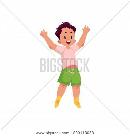 vector flat cartoon style cheerful small boy kid in green shorts jumping smiling with arms outstretched. Isolated illustration on a white background.