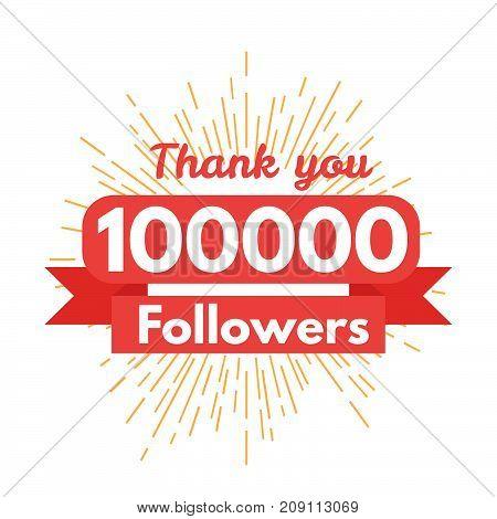Thank you followers, friends, media. Vector illustration