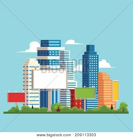 vector flat cartoon cityscape with different buildings and billboard. Skyscrapers, office centers shopping mall and city apartments houses. Illustration on light blue background