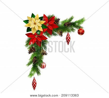 Christmas corner decoration with evergreen treess isolated vector