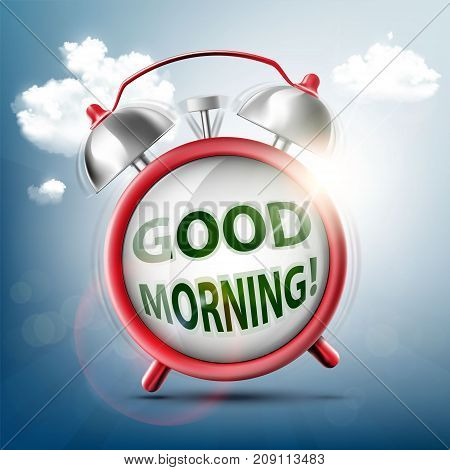 Icon Ringing Alarm Clock. Good Morning On The Watch Dial. Stock Vector Illustration.