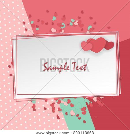 Vintage romantic origami paper heart shape long shadow frame. Retro border Valentine's love design. Mock up material soft mint color template backdrop. Empty greeting card Valentines Day holiday.