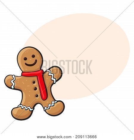 Glazed gingerman-shaped homemade Christmas gingerbread cookie, sketch style vector illustration isolated on white background. Christmas glazed gingerbread cookie in shape of smiling gingerman