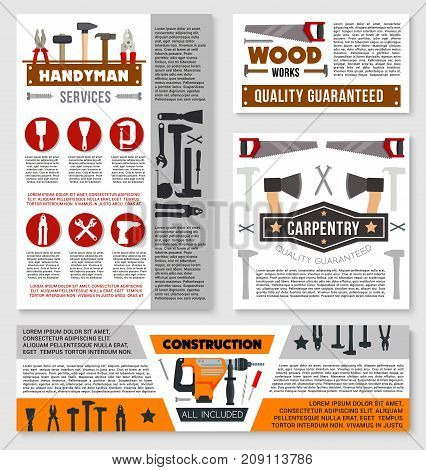 Construction business banner template set with repair tool and carpentry instrument. Vector toolbox with hammer, screwdriver, spanner, drill, pliers, wrench, brush, spatula, axe, saw for poster design