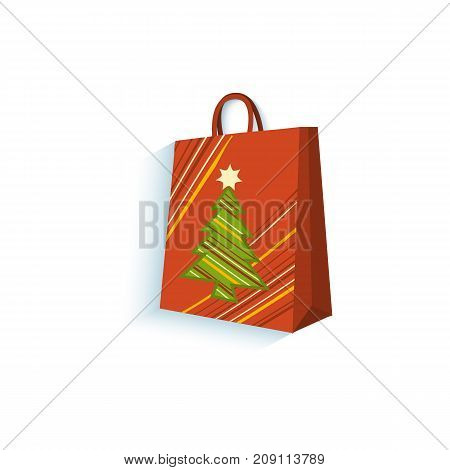 vector flat present gift glossy paper shopping bag with christmas tree image. Isolated illustration on a white background. Winter sybols concept