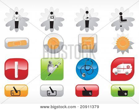 glossy web 2.0 style medical icon series  set