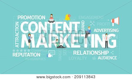 Content marketing concept illustration. Idea of promotion, content and reputation.