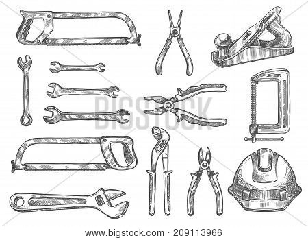 Construction and repair tool sketch set. Vector spanner, pliers, wrench, hacksaw, wire cutters, tape measure, clamp, hard hat, jack plane isolated instrument for carpentry and DIY themes design poster