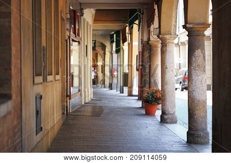 Montagnana Italy - August 6 2017: columns and arches of pedestrian areas on the streets of the city