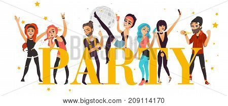 Party banner, poster with friends having fun in club, at disco, flat cartoon vector illustration isolated on white background. Young people, boys and girls, having fan and party word in big letters