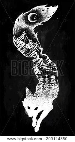 Double exposure, deocrative fox with nature pine forest with mountains landscape, night sky. Isolated vintage vector illustration.Tattoo, travel, adventure, wildlife symbol. The great outdoors.