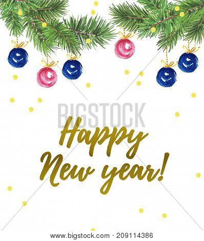 Watercolor artistic hand drawn christmas card design with fir tree decoration balls confetti & lettering greeting isolated on white background. Happy New year & Merry Xmas party flayer banner.