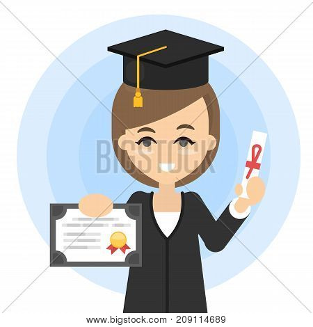 Happy graduated student in black hat and coat with diploma.