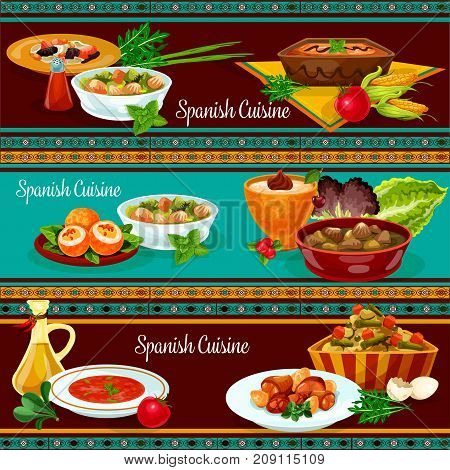 Spanish cuisine restaurant dinner banner set. Meat sausage and bean soup, rice pudding, tomato soup gazpacho, egg stuffed sausage, potato salad, liver vegetable stew, chicken in wine sauce, corn cream