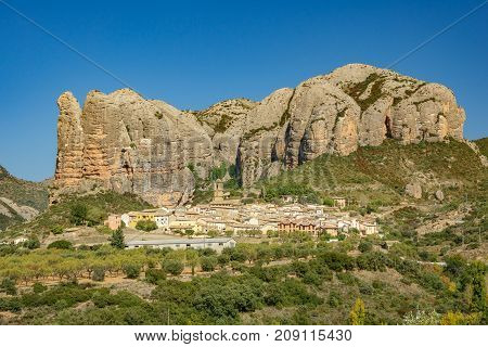 View of the old town built below Aguero Mountains, Huesca, Spain
