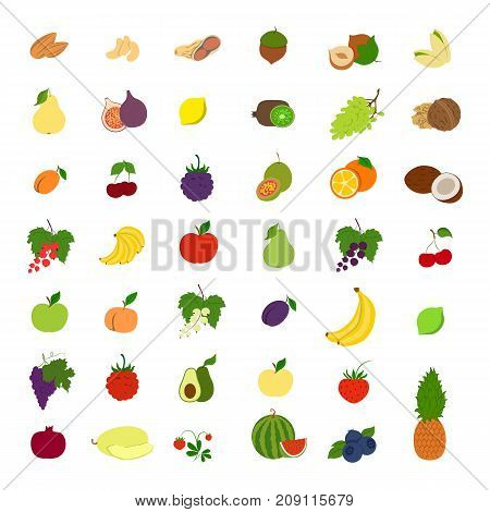 Fruits illustrations set. Bananas and apples, plum and pear and more.
