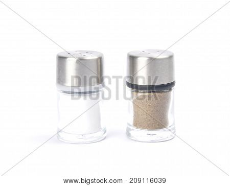 Colorful and crisp image of saltshaker and pepper caster on white