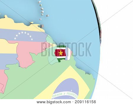 Suriname With Flag On Globe