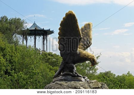 The Eagle and Chinese Arbor. Pyatigorsk Emblems. Northern Caucasus landmarks