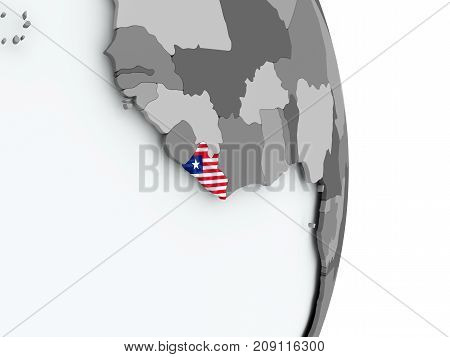 Map Of Liberia With Flag