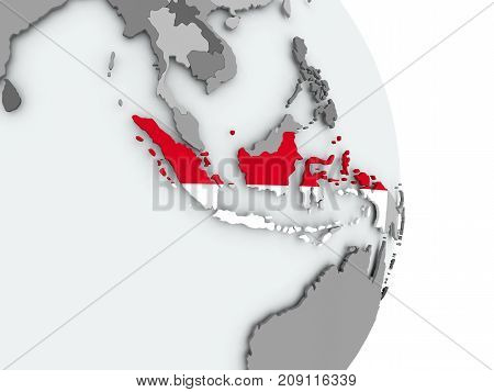 Map Of Indonesia With Flag