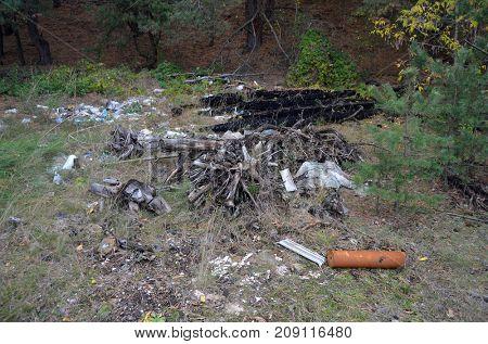 Environmental contamination. Illegal junk dump. October 15, 2017.Forest near Kiev, Ukraine