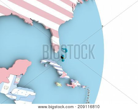 Bahamas With Flag On Globe