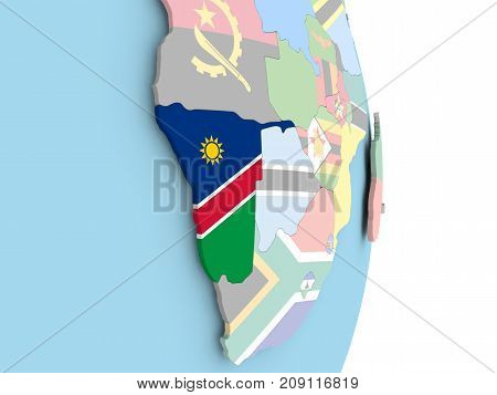 Namibia With Flag On Globe