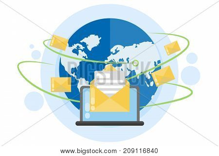 Global e-mail network. World globe with letters.